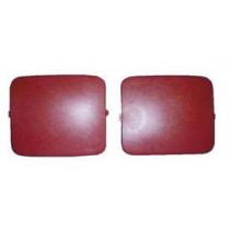 1987-1989 Mustang Hatchback Quater Panel Shock Access Hole Covers - Scarlet Red