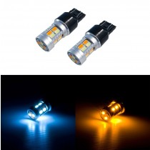 2015-2017 Ford Mustang Super Bright LED Switchback Amber/White Turn Signal Light Bulbs Pair