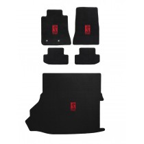 2015-2019 Shelby Black Velourtex Front Floor & Rear Trunk Mats Set Red GT350R Snake Emblem