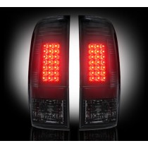 """1999-2007 Ford Super Duty + 1997-2003 F-150 Straight """"Style"""" Side Smoked LED Tail Lights"""
