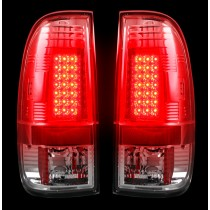 """1999-2007 Ford Super Duty + 1997-2003 F-150 Straight """"Style"""" Side Clear LED Tail Lights"""