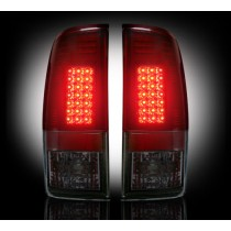 """1999-2007 Ford Super Duty + 1997-2003 F-150 Straight """"Style"""" Side Dark Red Smoked LED Tail Lights"""