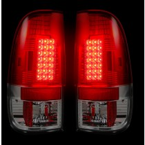 """1999-2007 Ford Super Duty + 1997-2003 F-150 Straight """"Style"""" Side Red LED Tail Lights"""