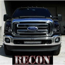 2011-2013 Ford F-250 F-350 Super Duty Smoked Projector LED Halo DRL Headlights