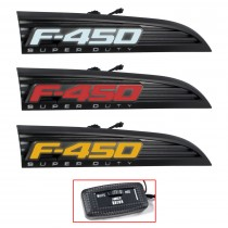 2011-2016 Ford F-450 Superduty RED WHITE AMBER Light Up Fender Emblems Black Pair