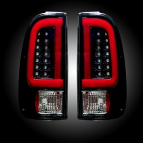 1999-2007 Ford F250 350 450 Super Duty Smoked LED Straight Style Rear Tail Lights Pair