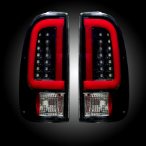 2008-2016 Ford F250 350 450 Super Duty RECON Smoked LED Rear Tail Lights Pair