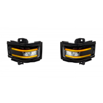 2017-2018 Ford Super Duty Truck RECON Smoked Side Mirror Lenses - Amber LED Lights