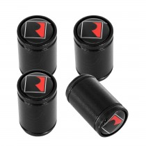 "Roush Mustang F150 ""R"" Logo Black Wheel Tire Valve Stem Caps - Set of 4"