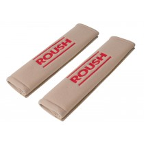 1999-2017 Mustang Roush Seat Belt Comfort Sleeve Covers Pair - Tan Parchment