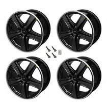 """2015-2021 Ford Mustang Mach 1 Staggered Black Wheels 19"""" x 10"""" & 9.5"""""""