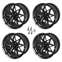 """2015-2021 Ford Mustang Mach 1 Staggered Black Wheels 19"""" x 11"""" & 10.5"""""""