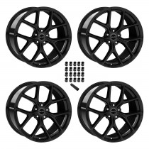 "2015-2020 Ford Mustang Shelby Staggered Black Wheels & Lug Nuts 20"" x 11"" & 9.5"""