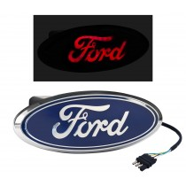 "Ford Truck Rear Tow Hook 2"" Hitch Cover Red LED Light Up Emblem - Chrome & Blue"