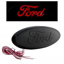 "2004-2014 Ford F-150 9"" Rear Tailgate Light Up Emblem - Black w/ Red LED"