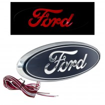 "2004-2014 Ford F-150 9"" Rear Tailgate Light Up Emblem - Chrome & Blue w/ Red LED"