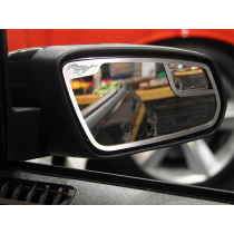 2011-2012 Mustang Brushed Stainless Steel Side Mirror Trim w/ Pony Logo Pair