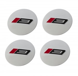 """1994-2020 Ford Mustang 2.5"""" Roush RS3 Silver Wheel Center Caps Set of 4"""