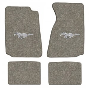 1994-2004 Mustang 4pc Grey Floor Mat Set w/ Silver Pony
