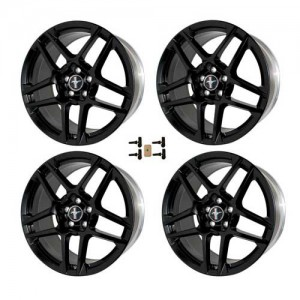 """2010-2014 Mustang Shelby GT500 19"""" x 9.5"""" BLACK Forged Wheels Set w/ TPMS Kit"""